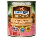 Happy&Fit Natural Rind&Pute mit Cranberries&Distelöl 6x400g